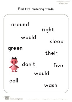 Two Matching Words (2nd Grade)