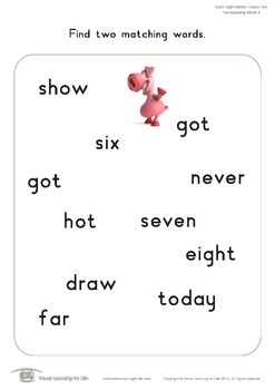Two Matching Words (3rd Grade)