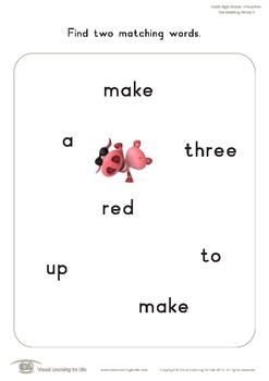 Two Matching Words (Pre-K)