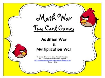Two Math War Card Games: Addition/Subtraction & Multiplication