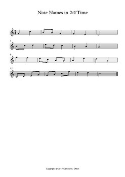 Two Melodic Note Name Exercises in 2/4 and 3/4