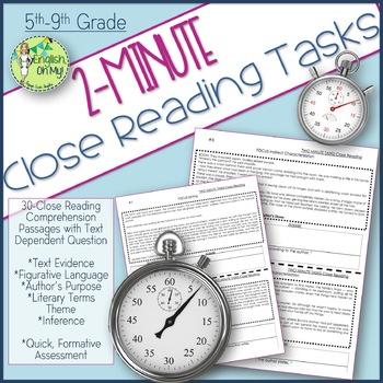 Close Reading-NO PREP Two-Minute Tasks