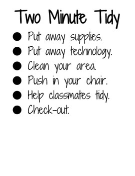Two Minute Tidy Clean Up Procedure Poster