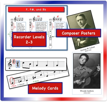 Two More Patriotic Songs for Recorder, Levels 2-3, 4th-6th Grades