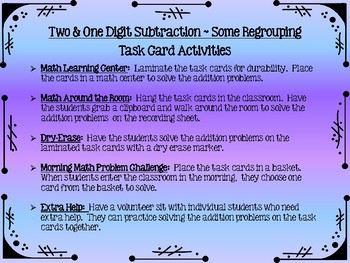 Two & One Digit Subtraction Task Cards - Some Regrouping