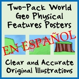 Two-Pack Geography Physical Features Posters - SPANISH - Easy-to-Print 11 x 17
