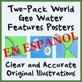 Two-Pack Geography Water Features Posters - SPANISH - Easy
