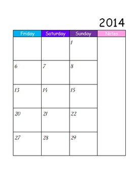 Two Page 2014-2015 Rainbow Calendar