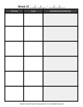 Two Page Lesson Plan Book Spread {Six Subjects}