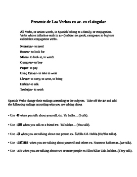 Two Page Note Sheet for Teaching Ar Spanish Verbs and Conjugations
