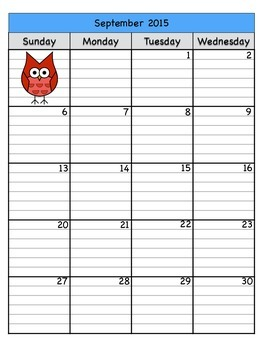 Two Page Owl School Year Calendar