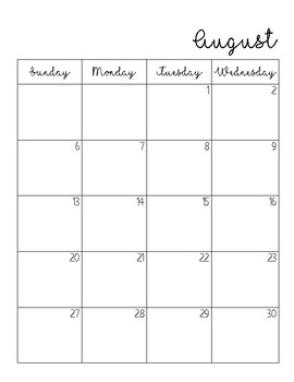 Two Page Printable Calendar July 2017 - July 2018
