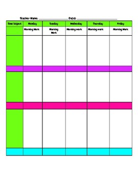 two page week lesson plan example printable by making a difference daily