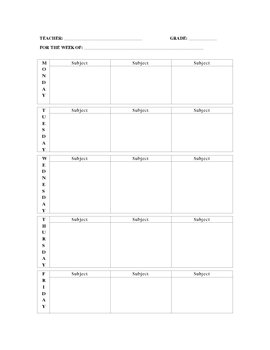 Two-Page Weekly Lesson Plan Template by John Blake | TpT