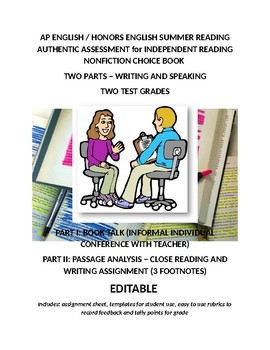 Two Part Assessment for Independent Reading and Summer Assignments 2 TEST GRADES