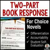Book Report: Two-Part Book Response for Independent Novels - Middle School