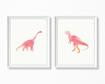 Two Pink Watercolor Dinosaur Printable Posters