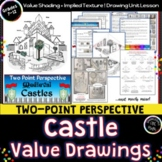 Two Point Perspective Medieval Castles with Visual Texture! Art Magic!