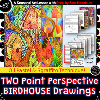 Two Point Perspective Oil Pastel Birdhouse Drawings with Sgraffito !