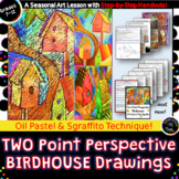 Two Point Perspective Art! Oil Pastel Birdhouse Drawings w