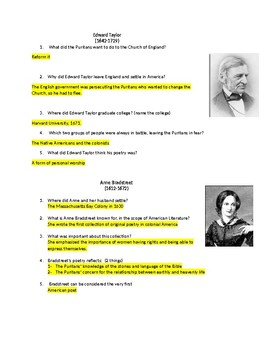 Two Puritan Poets, Edward Taylor & Anne Bradstreet--Questions and answers