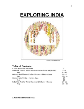 Two Quizzes and Two Tests on the History of India