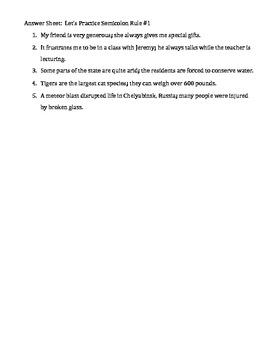 Two Semicolon Practice Sheets