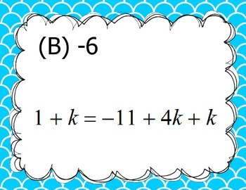*Two Sets, Scavenger Hunt* Solve Multi-Step Equations with Variables Both Sides
