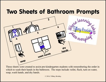 Two Sheets of Hygiene Bathroom Prompts for Toilet, Washing Hands, & Drying Hands