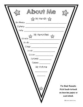 Two-Sided About Me Pennant Bunting for Back to School or Star of the Week