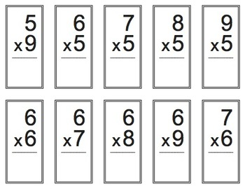 Two-Sided Multiplication Flash Cards