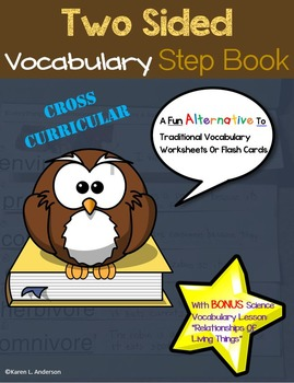 Two Sided Vocabulary Step Book - With Bonus Science Vocabulary Activity