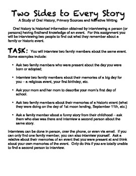 Two Sides to Every Story Essay - Primary Sources - Intervi