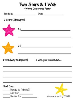 Two Stars and One Wish **Writing Conference Form**  *BEACH Themed*