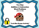 Two Step Addition & Subtraction Word Problems (Sums to 100)-Lock Box Escape Room