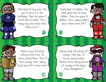 Two Step Word Problem Task Cards for Addition and Subtraction