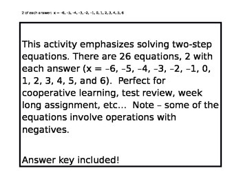 Two-Step Equation Activity
