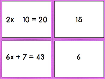 Two Step Equation Card Sort