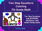 Two-Step Equation Coloring (Integers/Decimals/Word Problem