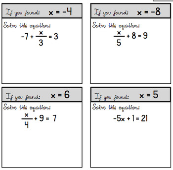 "Two-Step Equation ""Cut and Paste"" Scavenger Hunt - (Three Versions Included!)"