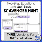 """Two-Step Equation """"Cut and Paste"""" Scavenger Hunt - (Three Versions Included!)"""
