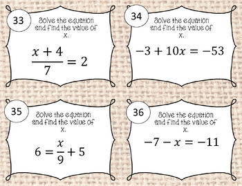 Two Step Equation BOOM Cards plus Printable Task Cards
