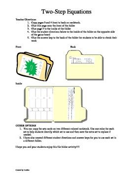 Two-Step Equation File Folder Games