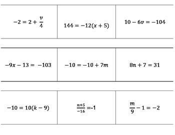 Two- Step Equation Flash Cards