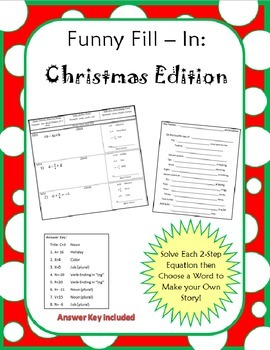 Two Step Equation Funny Fill- In: Christmas Edition