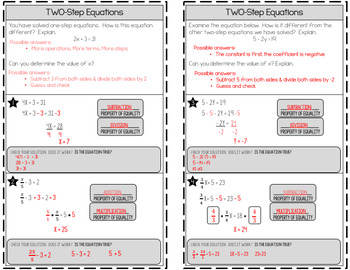 Two-Step Equations Guided Notes