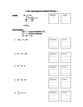 Two Step Equation Guided Practice
