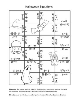 Halloween Equation Puzzles