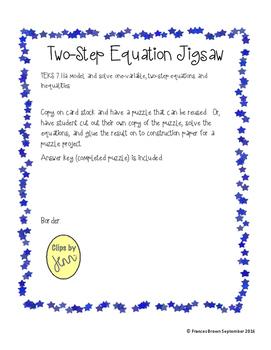 Two-Step Equation Jigsaw