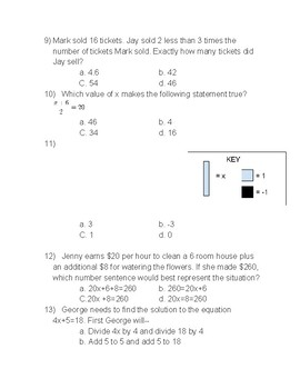 Two Step Equation Kahoot Review with printed questions VA SOL 7.14